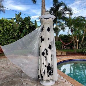 Nina Austin Silk White Black Floral Dress S